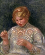 Girl Tatting painting reproduction, Pierre-Auguste Renoir
