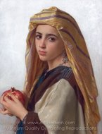Girl with a Pomegranate painting reproduction, William A. Bouguereau
