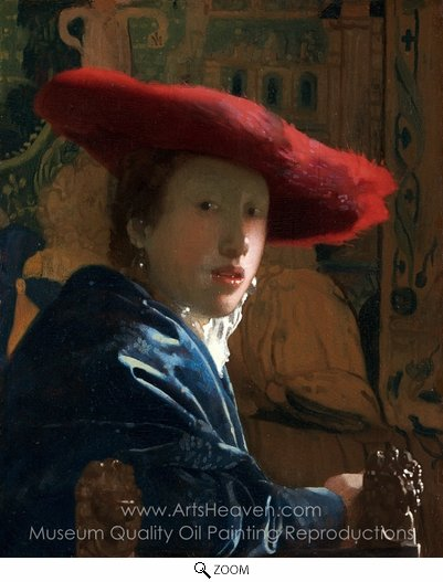 Jan Vermeer, Girl with a Red Hat oil painting reproduction