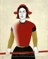 Girl with a Red Pole painting reproduction, Kasimir Malevich