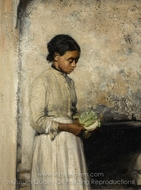Girl with Cabbage painting reproduction, Thomas Hovenden