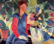 Girl with Fish Bell painting reproduction, August Macke