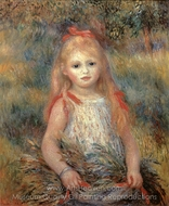 Girl with Flowers painting reproduction, Pierre-Auguste Renoir