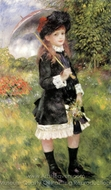 Girl with Parasol (Aline Nunes) painting reproduction, Pierre-Auguste Renoir