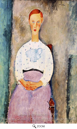 Amedeo Modigliani, Girl with Polka-Dot Blouse oil painting reproduction