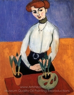 Girl with Tulips painting reproduction, Henri Matisse