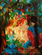 Girls Bathing with Town in Background painting reproduction, August Macke