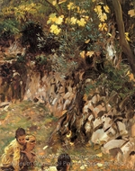 Girls Gathering Blossoms, Valdemosa, Majorca painting reproduction, John Singer Sargent