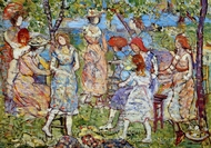 Girls in the Park painting reproduction, Maurice Prendergast