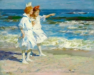 Girls on the Beach painting reproduction, Edward Henry Potthast