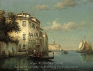 Gondoliers on the Grand Canal, Venice painting reproduction, Antoine Bouvard