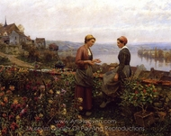 Gossiping painting reproduction, Daniel Ridgway Knight