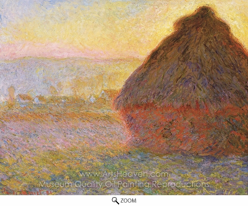 Claude Monet, Grainstack at Sunset oil painting reproduction