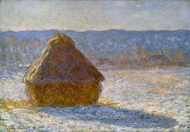 Grainstack in the Morning, Snow Effect painting reproduction, Claude Monet