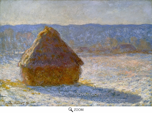 Claude Monet, Grainstack in the Morning, Snow Effect oil painting reproduction