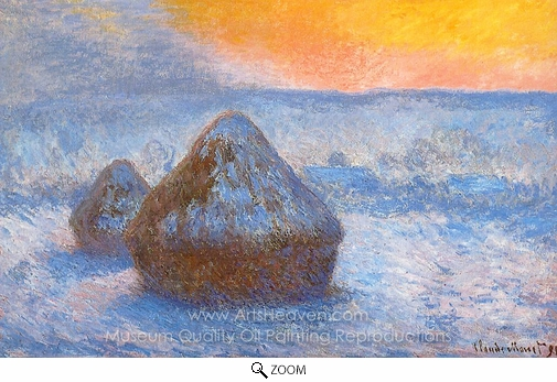 Claude Monet, Grainstacks at Sunset, Snow Effect oil painting reproduction