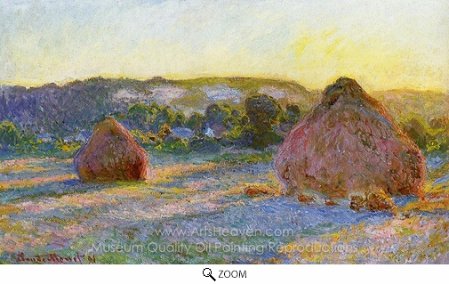 Claude Monet, Grainstacks at the End of Summer, Evening Effect oil painting reproduction
