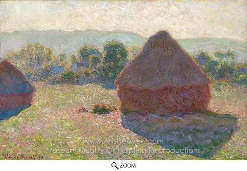 Claude Monet, Grainstacks in the Sunlight, Midday oil painting reproduction