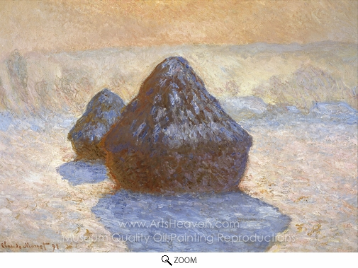 Claude Monet, Grainstacks, White Frost Effect oil painting reproduction