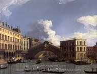 Grand Canal: the Rialto Bridge from the North painting reproduction, Canaletto
