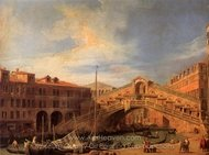 Grand Canal: the Rialto Bridge from the South painting reproduction, Canaletto