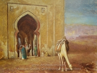 Grazing Camel at Mosque painting reproduction, Louis Comfort Tiffany