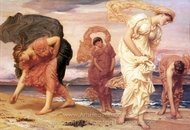 Greek Girls Picking Up Pebbles by the Sea painting reproduction, Lord Frederic Leighton
