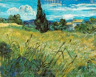 Green Wheatfield with Cypress painting reproduction, Vincent Van Gogh