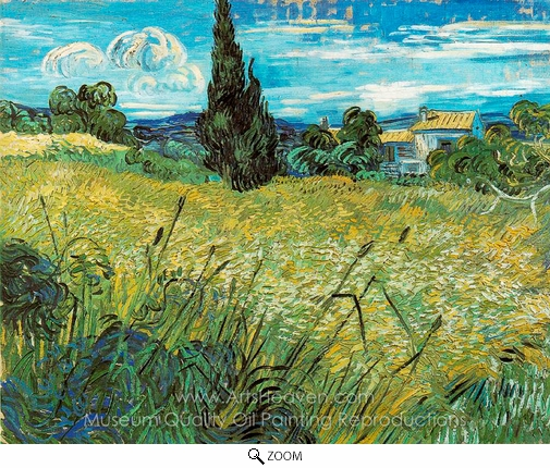 Vincent Van Gogh, Green Wheatfield with Cypress oil painting reproduction