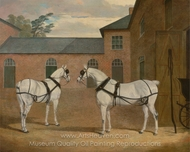 Grey Carriage Horses in the Coachyard at Putteridge Bury, Hertfordshire painting reproduction, John Frederick Herring Sr.