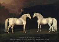 Grey Stallions in a Landscape painting reproduction, Sawrey Gilpin