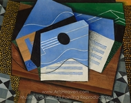 Guitar on a Table painting reproduction, Juan Gris