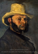 Gustave Boyer in a Straw Hat painting reproduction, Paul C�zanne