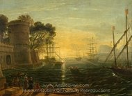 Harbor at Sunset painting reproduction, Claude Lorraine