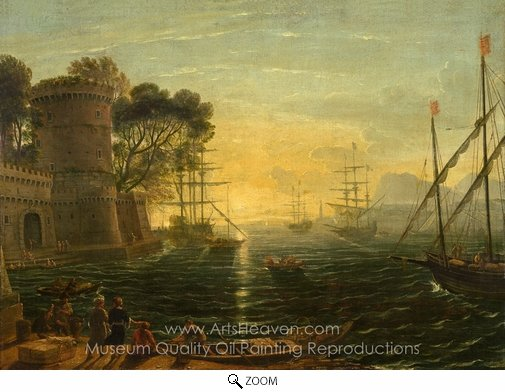 Claude Lorraine, Harbor at Sunset oil painting reproduction