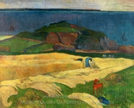 Harvest, Le Pouldu painting reproduction, Paul Gauguin