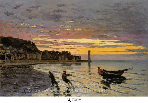 Claude Monet, Hauling a Boat Ashore, Honfleur oil painting reproduction