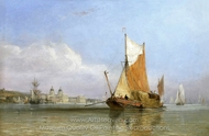Hay Barge off Grrenwich painting reproduction, Edward William Cooke