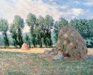 Haystacks painting reproduction, Claude Monet
