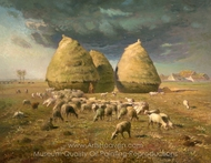 Haystacks, Autumn painting reproduction, Jean-Francois Millet