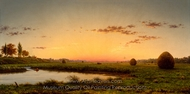 Haystacks on the Newburyport Marshes painting reproduction, Martin Johnson Heade