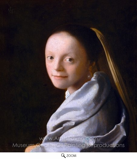 Jan Vermeer, Head of a Girl (Portrait of a Young Woman) oil painting reproduction