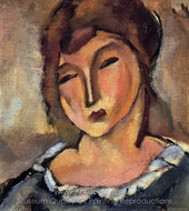 Head of a Young Woman painting reproduction, Jules Pascin