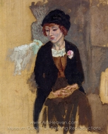 Hermine in a Black Hat painting reproduction, Jules Pascin