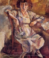 Hermine on a Chair painting reproduction, Jules Pascin