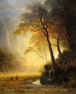 Hetch Hetchy Canyon painting reproduction, Albert Bierstadt