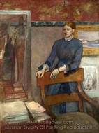 Hilaire Rouart in Her Father's Study painting reproduction, Edgar Degas