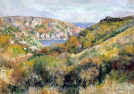Hills around the Bay of Moulin Huet, Guernsey painting reproduction, Pierre-Auguste Renoir