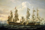 HMS Captain Capturing the San Nicolas and the San Jose at the Battle of Cape St. Vincent painting reproduction, Nicholas Pocock