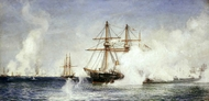 HMS Condor at the Bombardment of Alexandria, 11 July 1882 painting reproduction, William Lionel Wylie